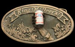 Qe12193 Really Great 1977 Budweiser W/3-d Can And Hand Beer Belt Buckle