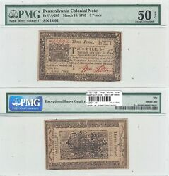 March 16, 1785 3 Pence Pennsylvania Colonial Note Fr Pa-265 Pmg Au-50 Epq