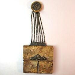 Antique Japanese Tobacco Pouch Dragons With Netsuke Leather Wallet
