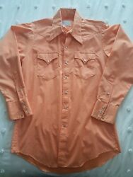 Rare Vintage Pearl Snap Western Shirt Dotted Swiss Peach Colored Long Torso M