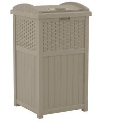 Suncast 33 Gallon Trash Can For Patio Resin Outdoor Trash With Lid, Dark Taupe