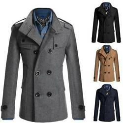 Mens Coat Double Breasted Winter Wool Long Trench Peacoat Overcoat Business Ol
