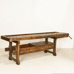 Large Antique Carpenter's Workbench With Shelf And Storage