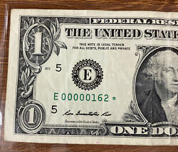 Very Rare Ultra Low 1⭐️ Star Note ⭐️ 3 Digits Serial Number 162 Bill