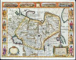 1676 Outstanding Antique Map Tartary Caspian China John Speed Bassett And Chiswell