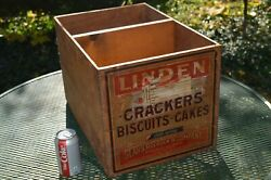 Antique Sears And Roebuck Wooden Shipping Crate Box Jun 30, 1906 Linden Crackers