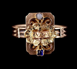 Antique Late Georgian English 14k Yellow Gold Blue Paste Floral Ornate Ring 9.5