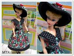 Vintage Inspired Fashion For Barbie By Mta   Handmade 5pc French Fleur Dots