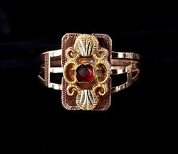 Antique Late Georgian English 14k Yellow Gold Red Paste Floral Ornate Ring Sz 9
