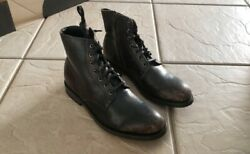 Men's Frye Bowery Lace Up Black Leather Distressed Boots 358 Size 11.5 M Zipper