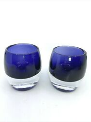 Cobalt Blue Art Glass Candle Holder Sommerso Style Hand Blown Votive Set Of 2
