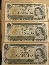 10 Sequential 1973 Canada 1 Bank Note Canadian One Dollar Bill Uncirculated