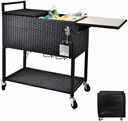 80 Qt Patio Portable Rolling Cooler Cart Wicker Outdoor Ice Beer Chest