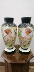 Pair Antique Vase French Opaline Glass Hand Made Art Decor Beautiful