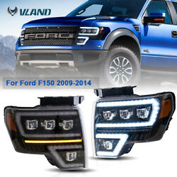 Set 2 Projector Headlights For 2009-2014 Ford F150 F-150 Led Front Lamps Black