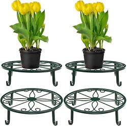 4 Pieces Metal Potted Plant Stand Round Iron Plant Holder Floor Flower Supports
