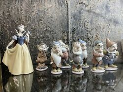 Lladro Disney Collectors Figurines Snow White And The Seven Dwarfs Mibs Two Signed