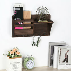 Mail Sorter Wall Mount Mail And Key Holder Organizer With 6 Key Coat Hooks
