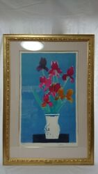 Iris On A Blue Background Ed125 By Bernard Cathelin Lithograph Signed Poster
