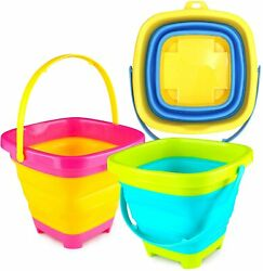 3 Otters 3pcs Foldable Bucket, Foldable Pail Bucket Sand Buckets Silicone Collap