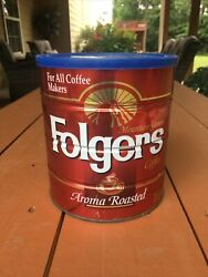 Vintage Folgers Coffee Can Aroma Roasted For All Coffee Makers 39 Oz