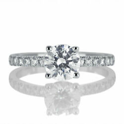 H/si2 Round Cut Natural Diamond Engagement Ring 1.50 Ct 14k White Gold Certified