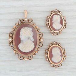 Antique Victorian Carved Agate Cameos 3 Pins Pendant 12k Gold Pearls Hair