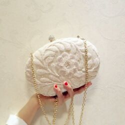 New Women Gold Sequined Evening Clutches Bag Diamond Embroidery For Wedding 2021 $29.99