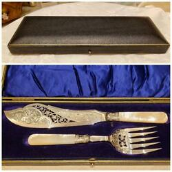 1898 Henry Wilkinson Sterling Silver Antique Fish Serving Knife And Fork With Box