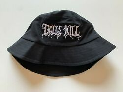 Dolls Kill Embroidered Black Bucket Hat One Size NWOT $8.00