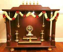 51'' Large Indian Pooja Mandir For Home, Hindu Wooden Temple For Puja At Home Be