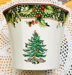 """Vtg 2006 Spode 5.5 Poinsettia Pot """"christmas Tree"""" Annual Collection New In Box"""