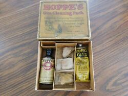 Antique Hoppe's Gun Cleaning Pack Very Early Glass Nitro 9 W/ Cork Top And Grease