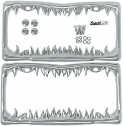 Shark Tooth License Plate Frame With Screws Caps, Set Of 2 Silver