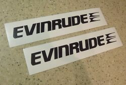 Evinrude Vintage Outboard Motor Decals 2-pk Black 8 Free Ship + Free Fish Decal