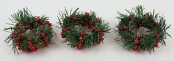 """Mini Set Of 3 Christmas Green Wreaths W/ Red Beads For Candle Holders 3"""""""