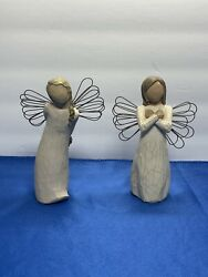 Willow Tree Lot Of 2 Angel Figurines Thank You, Sign Of Love