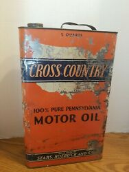 Vtg Cross Country 5 Quart Oil Can Gas Service Station Sears And Roebuck Co