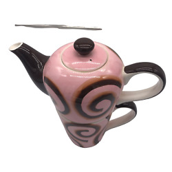 Huesnbrews Stacking Teapot And Cup No Saucer Pink Brown Swirl Discontinued