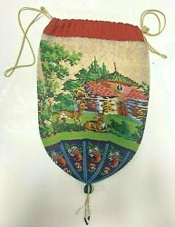 Antique Victorian Micro Beaded Drawstring Purse With Nature Scenery And Deer