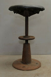 Rare Industrial Screw Crank Piano Seat Stool Cast Iron Stand Collectible Tool