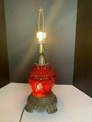 Vintage 1973 E.k. Red Glass Hollywood Regency Table Lamp With Night Light Base