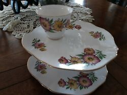 Royal Vale Fine Bone China Breakfast Snack Plate Cup Flowers England Set Of 4