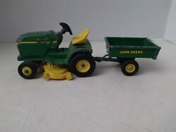 Ertl 1980's John Deere Lawn And Garden Toy Tractor And Cart Jd Lawn Mower 1/16.