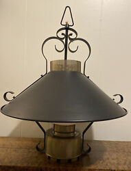 Vintage French Country Farmhouse Black/brass Enameled Tin Hanging Faux Oil Lamp