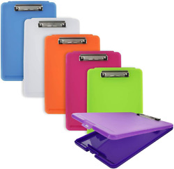 Emraw Plastic Translucent Clipboard Pack With Storage Case Box Letter Size...