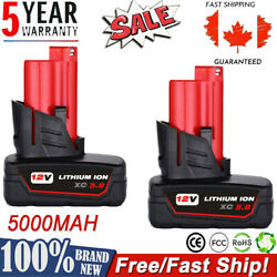 1/2pcs For Milwaukee M12 12volt Xc 5.0 Extended Capacity Battery 48-11-2460 2401