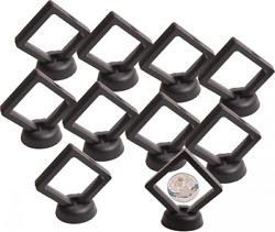 Coin Display Stand - Set Of 10 3d Floating Frame Holder With Stands...