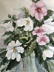 Vintage Original Signed Watercolor Gorgeous Spring Flowers Farmhouse Signed
