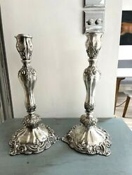 Pair Of Antique Silver Plate Oil Lamps Fancy Scrolls